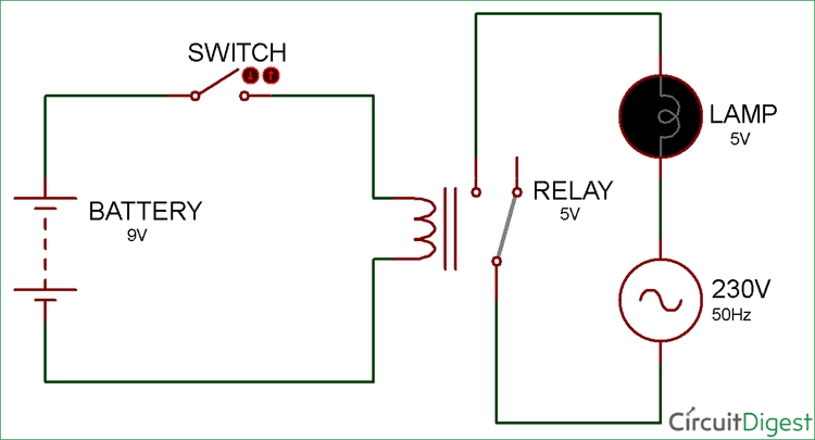 Simple Relay Switch Circuit diagram