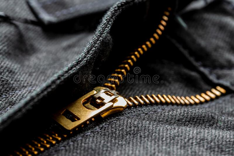 Black jeans with lock zipper. Close up background.  stock image