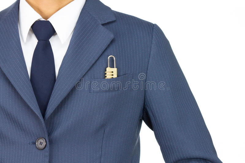 Businessman and Combination Lock in Pocket on Straight View Isolated on White Background. Businessman in Blue Suit With Combination Lock in Pocket on Straight royalty free stock images