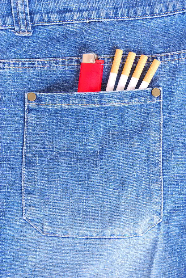 Cigarettes and lighter in pocket. A big back pocket of a smoker