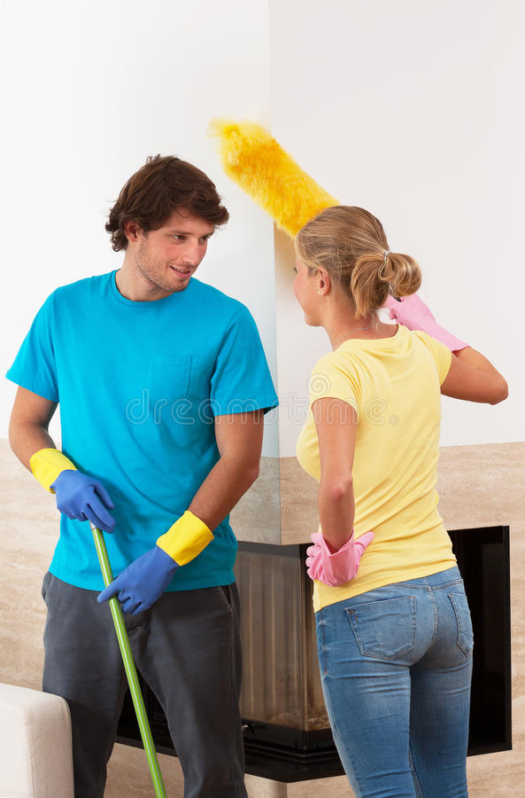 Cleaning together stock photo