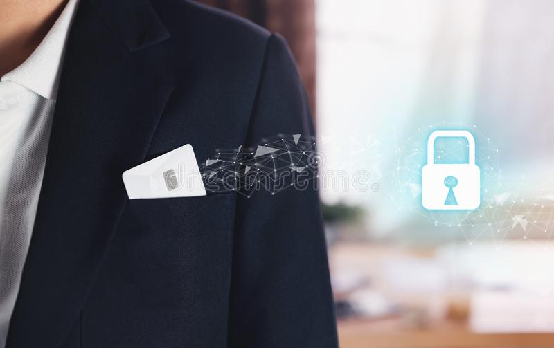 Credit card in pocket businessman black suit and icon key lock. Cyber Security. Credit card in pocket businessman black suit and icon key lock. Cyber Security stock image