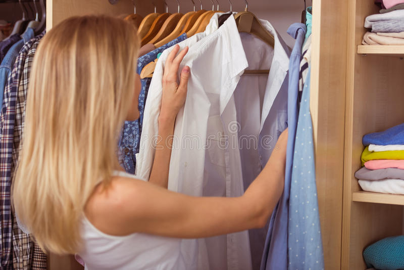 Girl in a dressing room royalty free stock photos