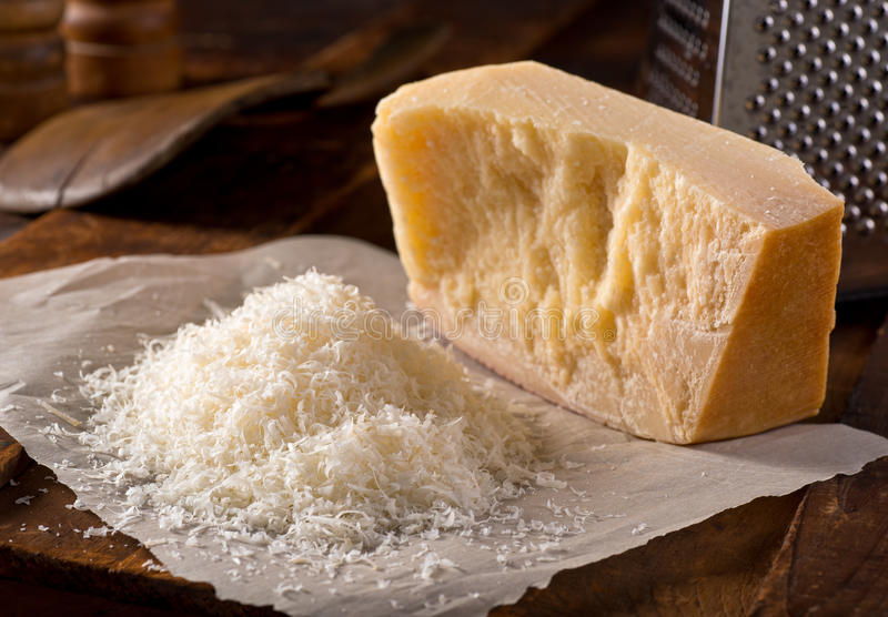 Grated Parmesan Cheese. Freshly grated parmigiano reggiano parmesan cheese stock images