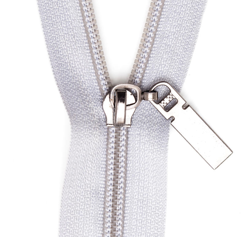 Gray lock on clothes on white background.  royalty free stock photo
