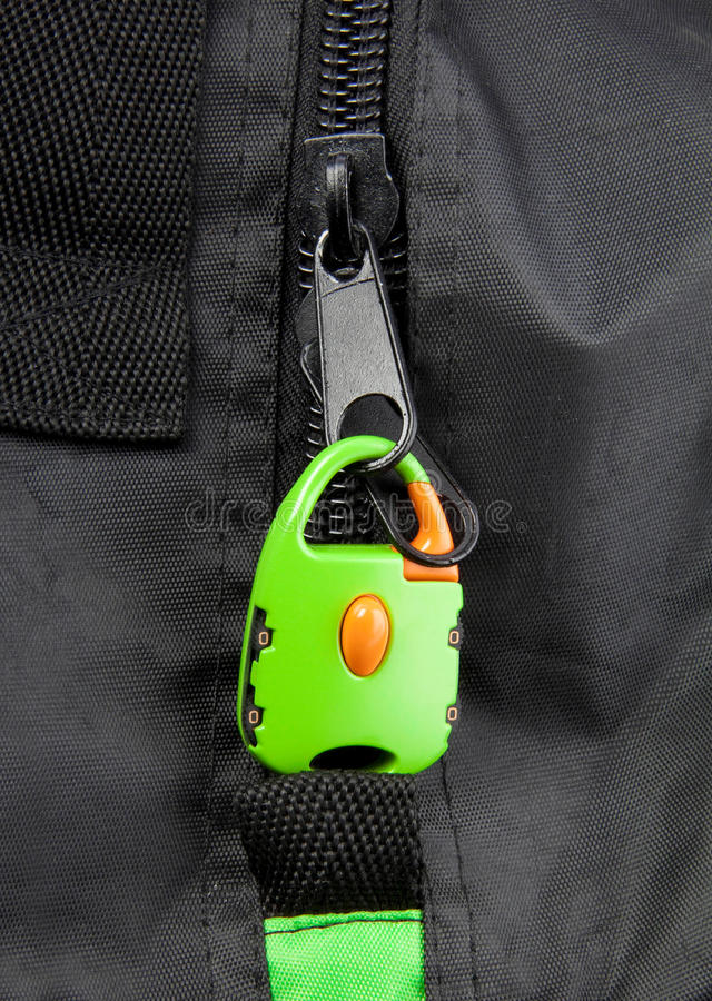 Green lock on a bag