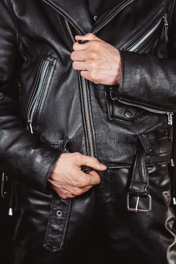 Lock leather jackets stock images