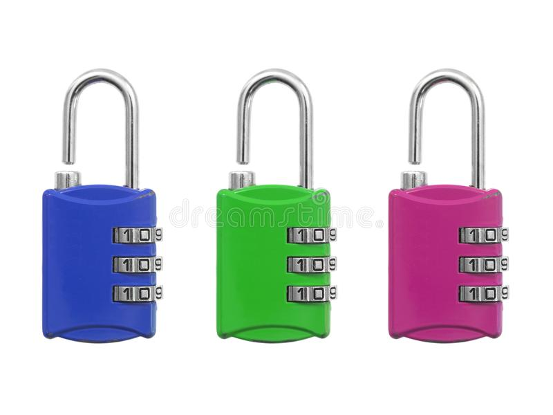 Luggage Lock. A luggage lock isolated against a white background royalty free stock image