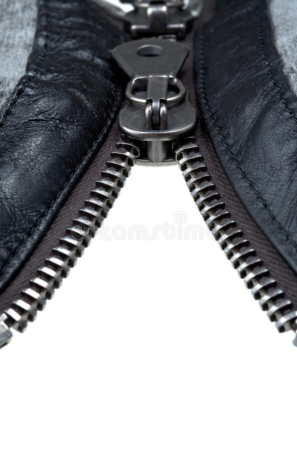 Metal double zipper lock royalty free stock photography
