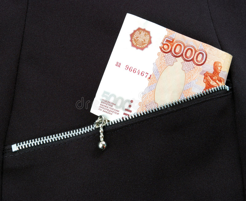 Money in pocket. Bill 5000 rubles pocket with lock-zipper royalty free stock photo