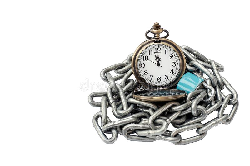 A pocket watch with chain and key lock On a white background iso. Lated Concept about time stock photos