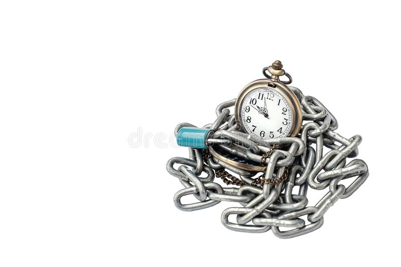 A pocket watch with chain and key lock On a white background iso. Lated Concept about time royalty free stock image