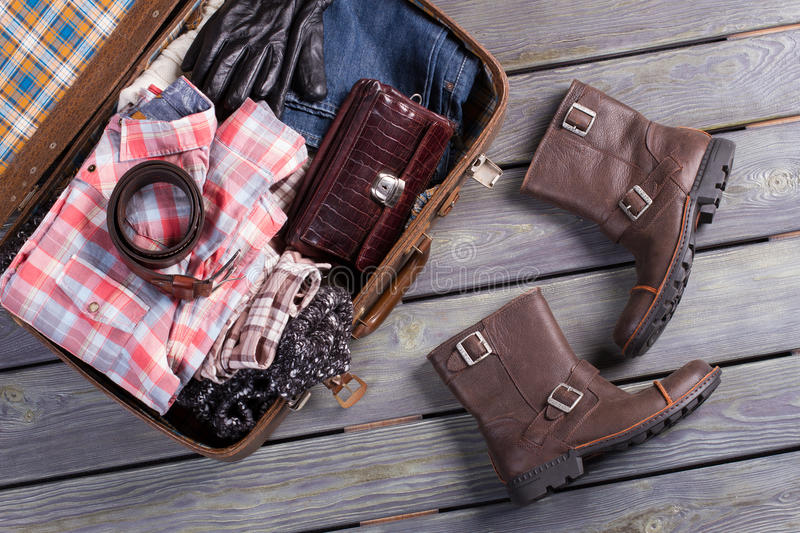 A set of clothes for the trip. Suitcase traveler. A set of clothes for the trip stock photo
