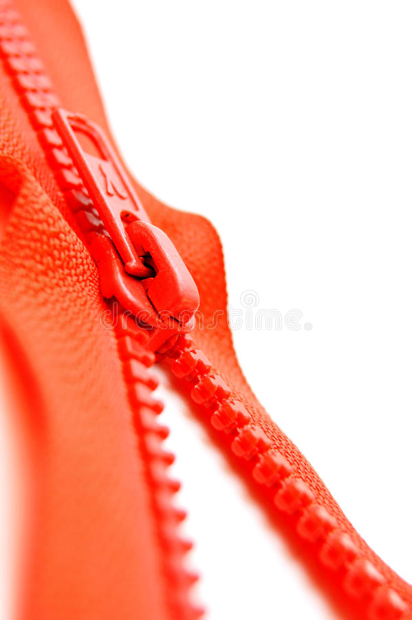 Zipper lock. Zipper lock (red, metal, open royalty free stock photography