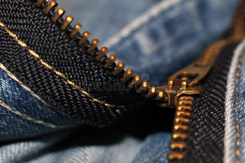 Zipper lock on jeans so close. Fashion royalty free stock images