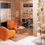 Цветовые контуры пола и потолка хорошо зонируют пространство квартиры