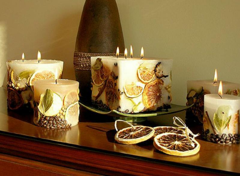 декоративные свечи. фото